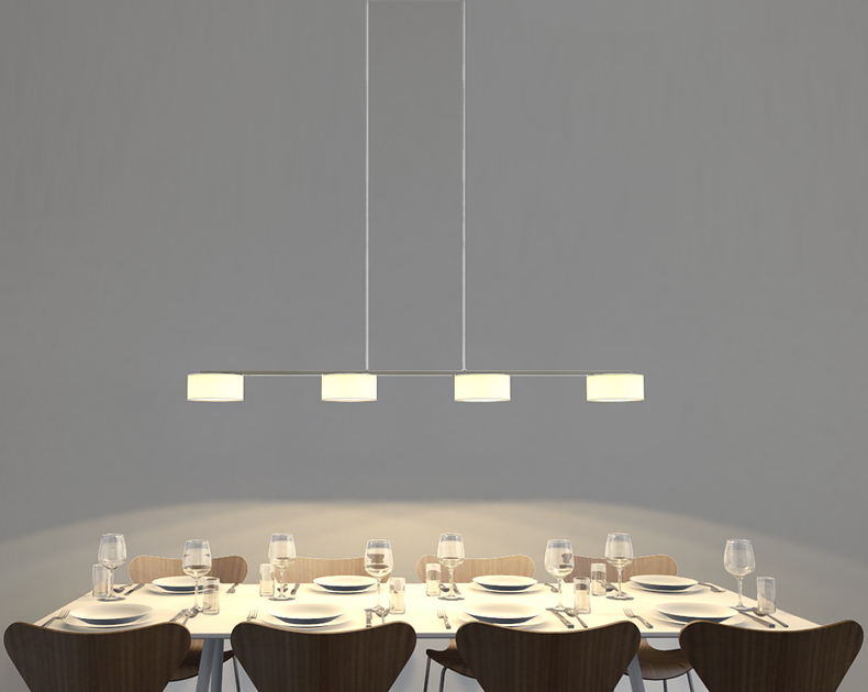atmospheric lighting for long dining tables